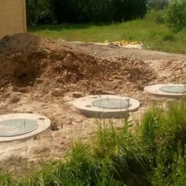 монтаж септика из бетонных колец в Рузе